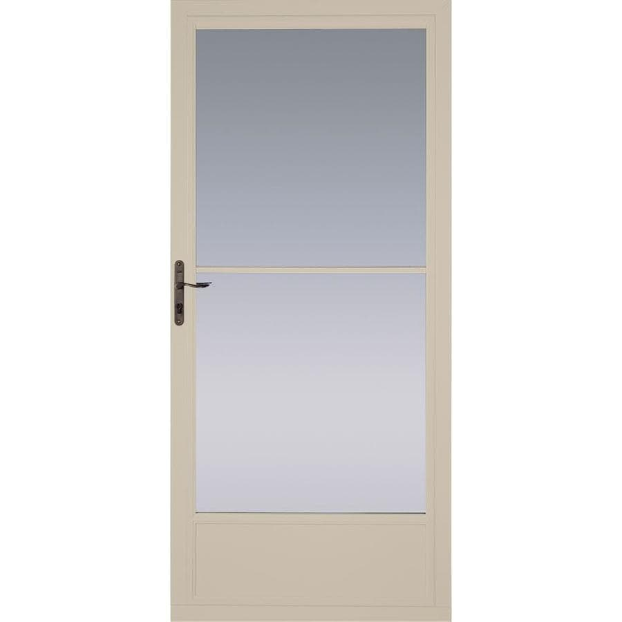 shop pella tan mid view aluminum storm door with