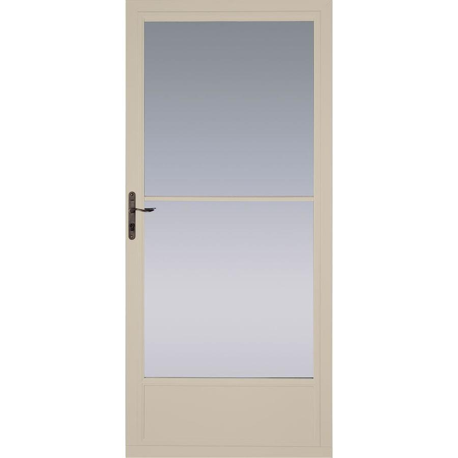 Shop pella tan mid view aluminum storm door with for Disappearing screen doors lowes