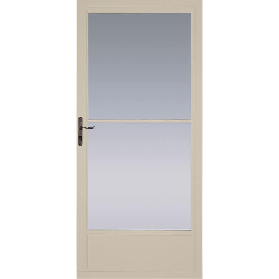 Pella Tan Mid-View Aluminum Storm Door (Common: 36-in x 81-in; Actual: 35.75-in x 79.875-in)