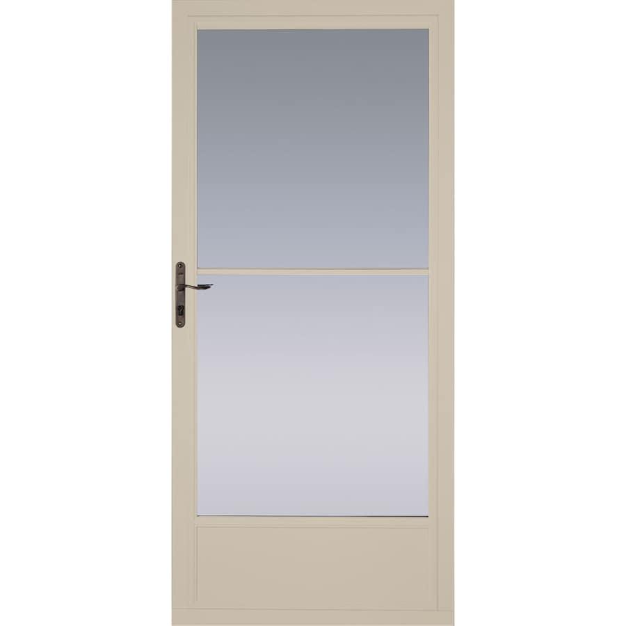 Pella Tan Mid-View Tempered Glass Retractable Aluminum Storm Door (Common: 36-in x 81-in; Actual: 35.75-in x 79.875-in)