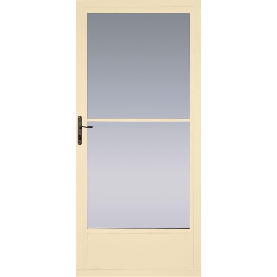Pella Poplar White Mid-View Aluminum Storm Door (Common: 36-in x 81-in; Actual: 35.75-in x 79.875-in)