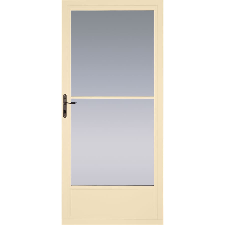 Pella Poplar White Mid-View Tempered Glass Retractable Aluminum Storm Door (Common: 36-in x 81-in; Actual: 35.75-in x 79.875-in)