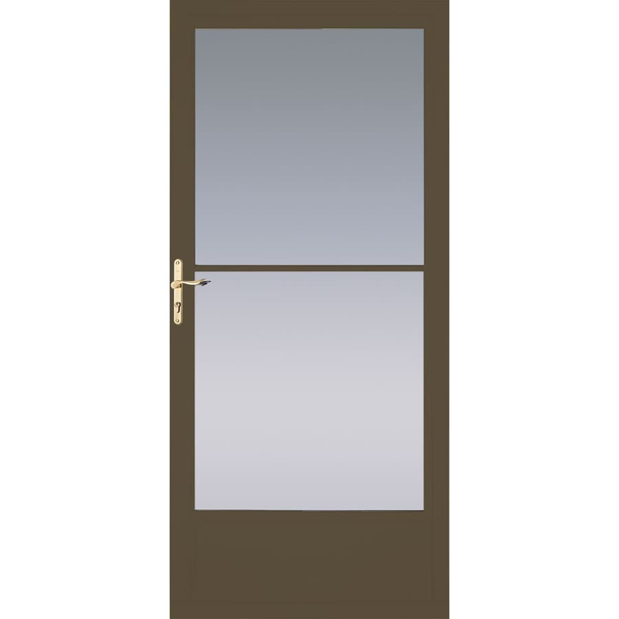 Shop pella brown mid view aluminum storm door with for Disappearing screen doors lowes