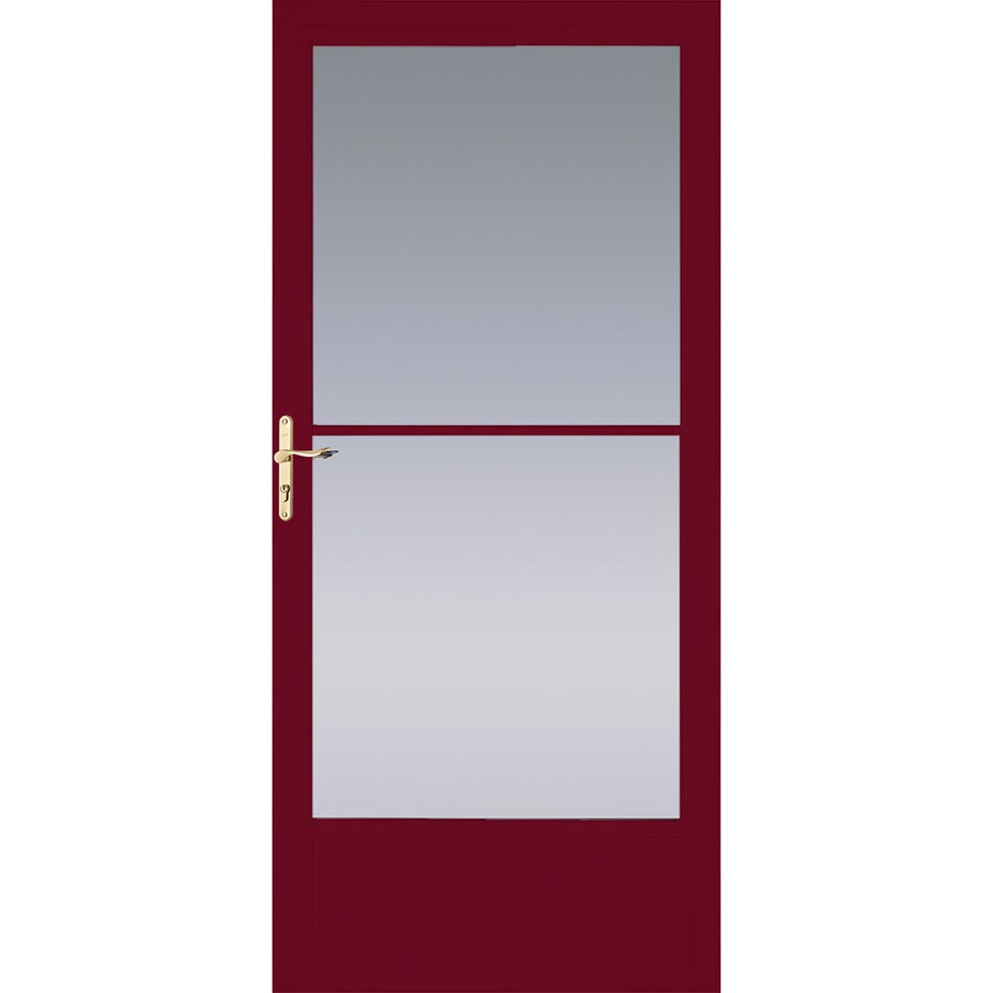 Pella Cranberry Mid-View Aluminum Retractable Screen Storm Door (Common: 32-in x 81-in; Actual: 31.75-in x 79.875-in)