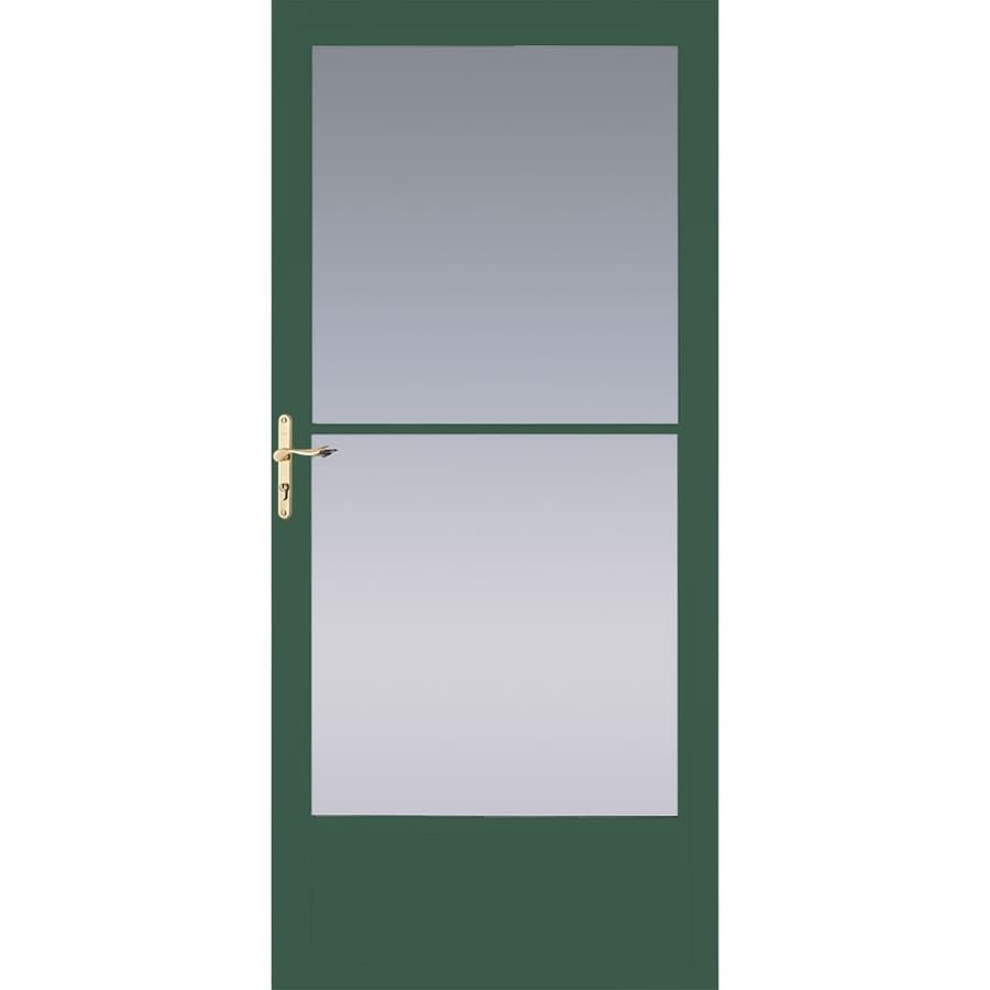 Pella Hartford Green Mid-View Aluminum Storm Door with Retractable Screen (Common: 36-in x 81-in; Actual: 35.75-in x 79.875-in)