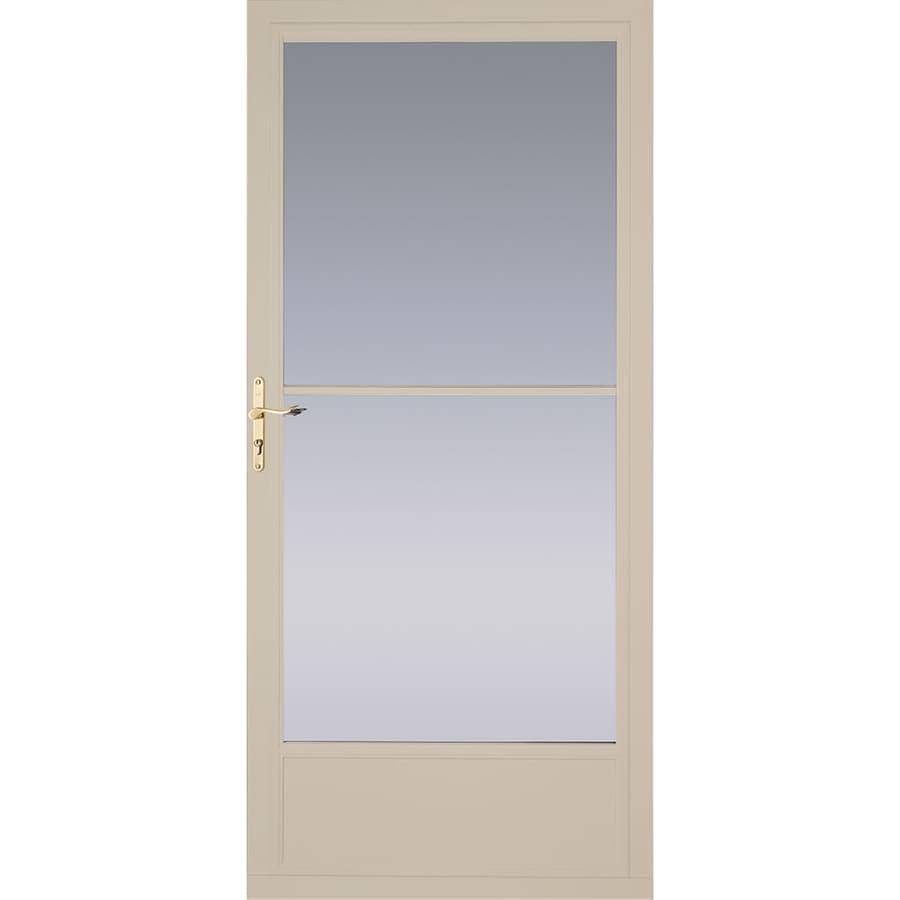 Shop pella tan mid view aluminum storm door with for Disappearing screen door reviews