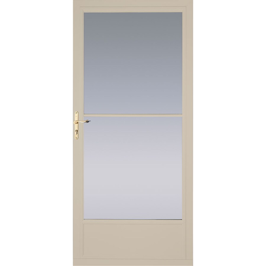 Pella Tan Mid-View Aluminum Storm Door with Retractable Screen (Common: 36-in x 81-in; Actual: 35.75-in x 79.875-in)