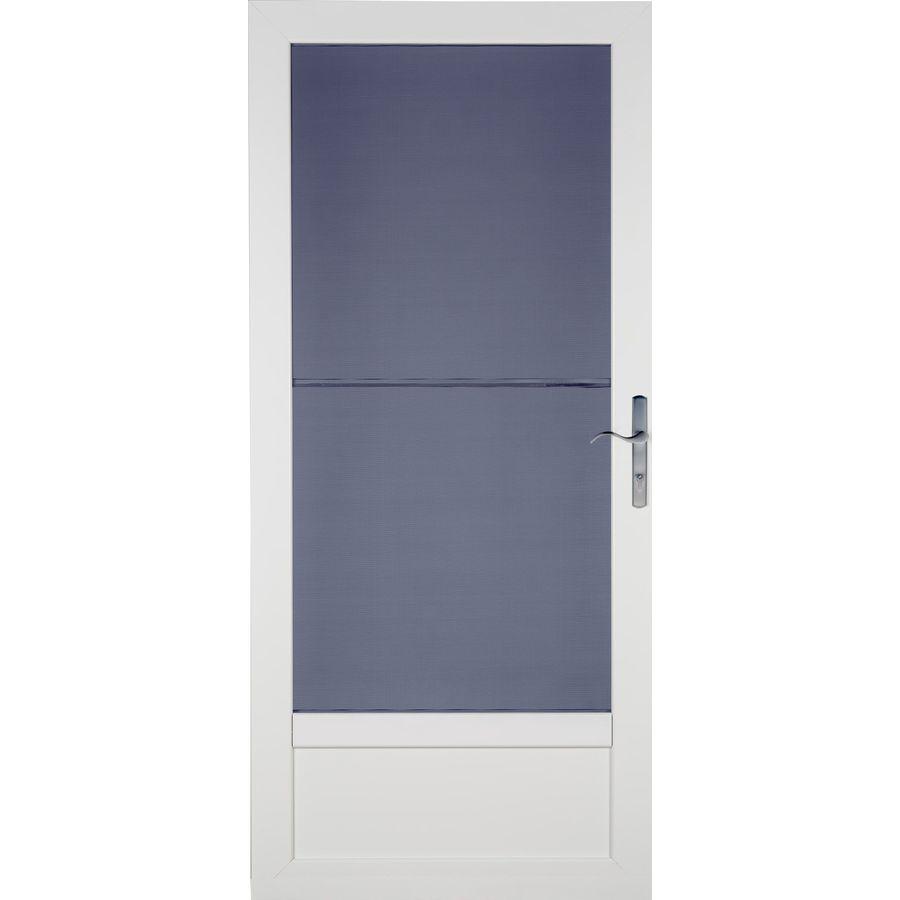 LARSON Patriot White Aluminum Recessed Mount Single Security Door (Common: 32-in x 81-in; Actual: 31.75-in x 79.75-in)