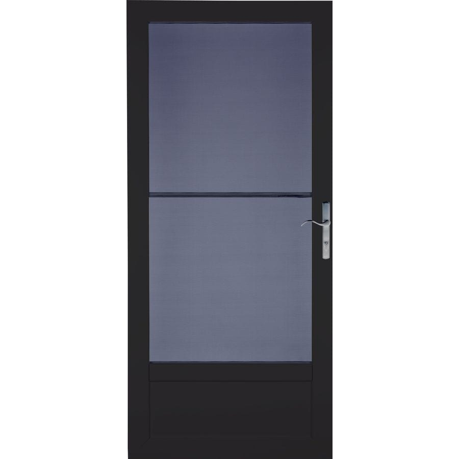 LARSON Patriot Black Aluminum Recessed Mount Single Security Door (Common: 32-in x 81-in; Actual: 31.75-in x 79.75-in)