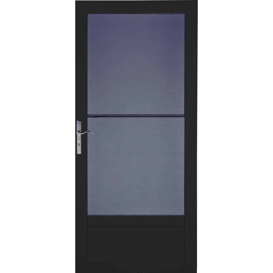 LARSON Patriot Black Aluminum Security Door (Common: 36-in x 81-in; Actual: 35.75-in x 79.75-in)