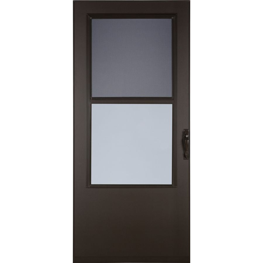 LARSON West Point Brown Mid-View Tempered Glass Self Storing Wood Core Storm Door (Common: 32-in x 81-in; Actual: 31.75-in x 79.875-in)