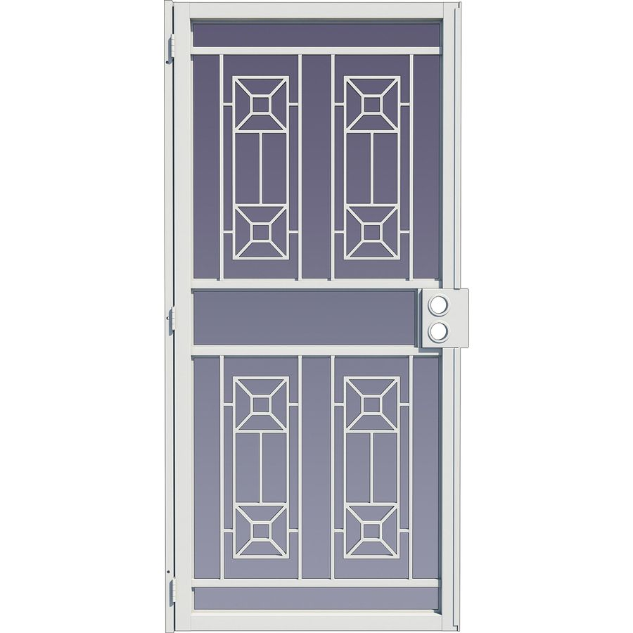 LARSON Matrix White Steel Surface Mount Single Security Door (Common: 32-in x 81-in; Actual: 34.125-in x 79.75-in)