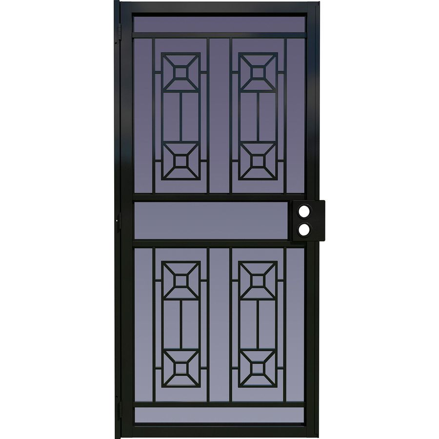 Shop larson matrix black steel surface mount single for Metal security doors