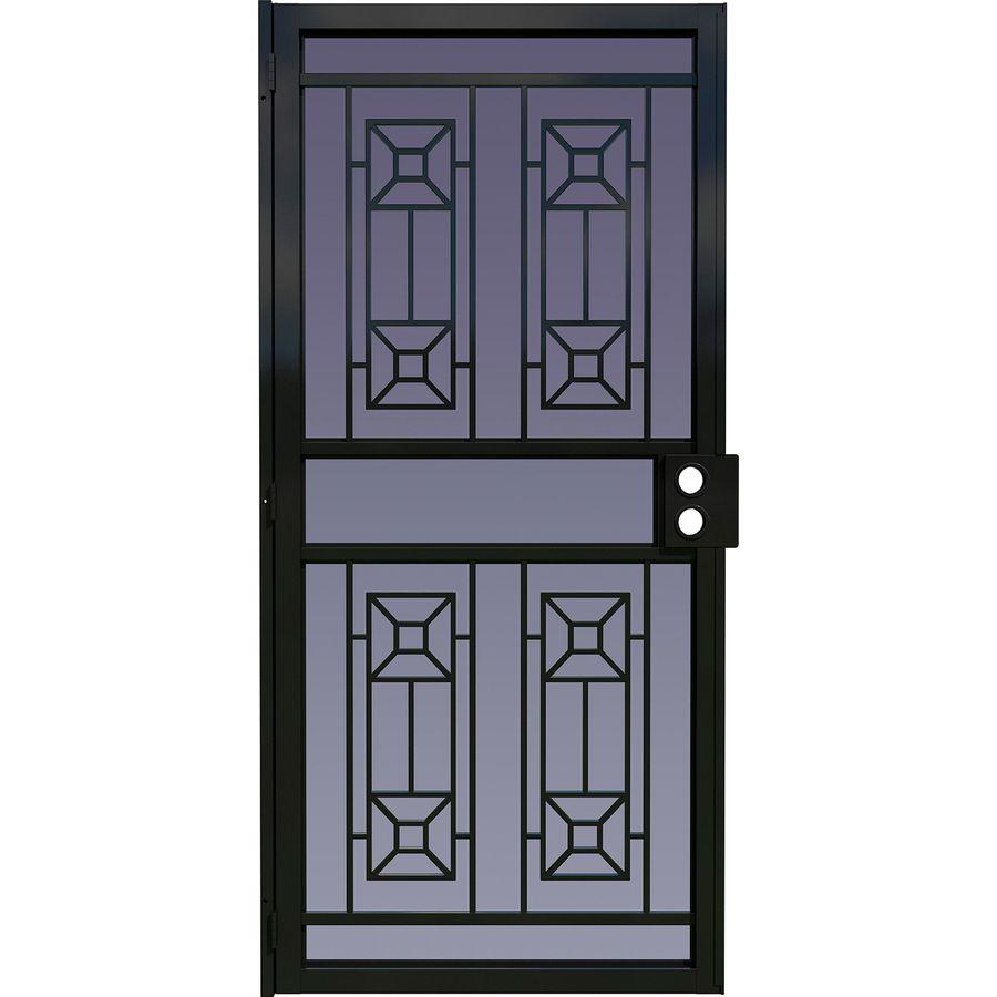 LARSON Matrix Black Steel Surface Mount Single Security Door (Common: 36-in x 81-in; Actual: 38.125-in x 79.75-in)