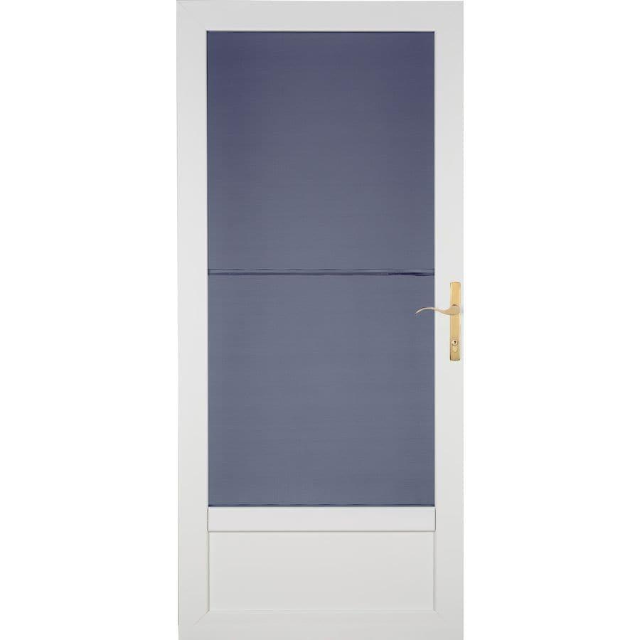 LARSON Patriot White Aluminum Recessed Mount Single Security Door (Common: 36-in x 81-in; Actual: 35.75-in x 79.75-in)