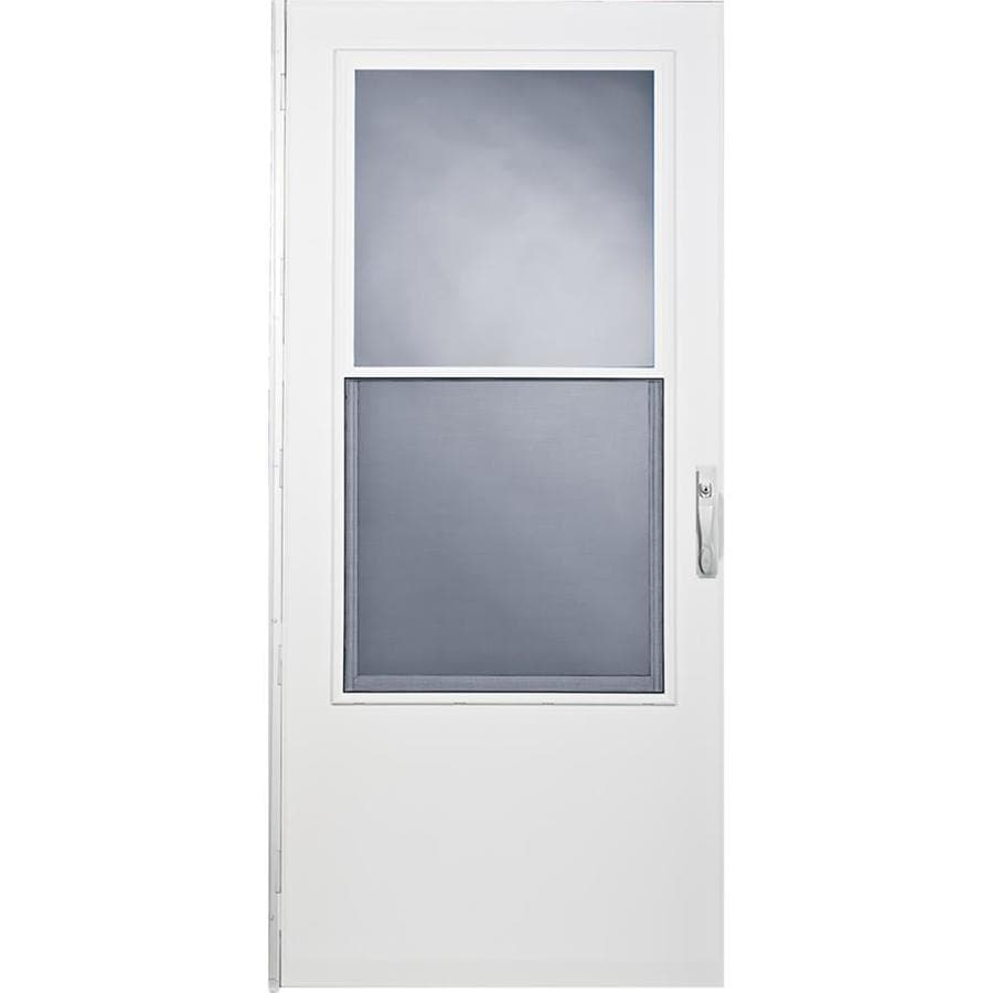 Comfort-Bilt West Point White Mid-View Tempered Glass Self Storing Wood Core Storm Door (Common: 34-in x 81-in; Actual: 33.75-in x 79.875-in)
