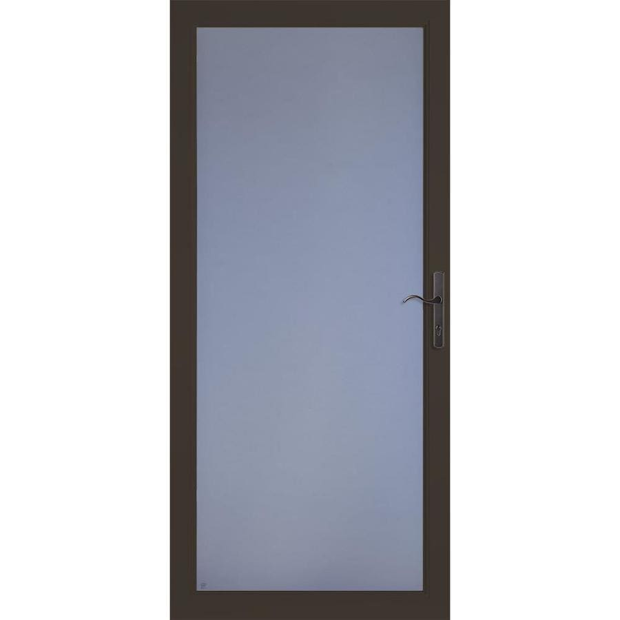 LARSON Secure Elegance Brown Full-View Laminated Security Glass Aluminum Storm Door (Common: 36-in x 81-in; Actual: 35.75-in x 79.75-in)