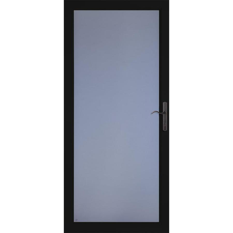 LARSON Secure Elegance Black Full-View Laminated Security Glass Storm Door (Common: 36-in x 81-in; Actual: 35.75-in x 79.75-in)
