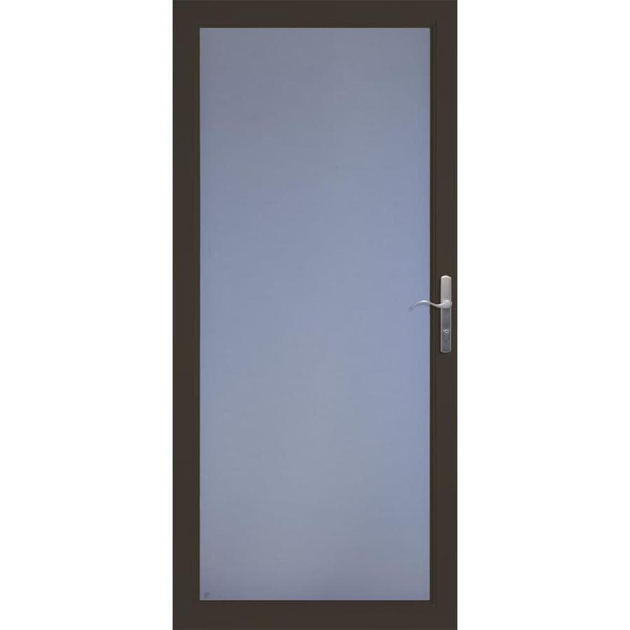 LARSON Secure Elegance Brown Full-View Laminated Security Glass Storm Door (Common: 32-in x 81-in; Actual: 31.75-in x 79.75-in)