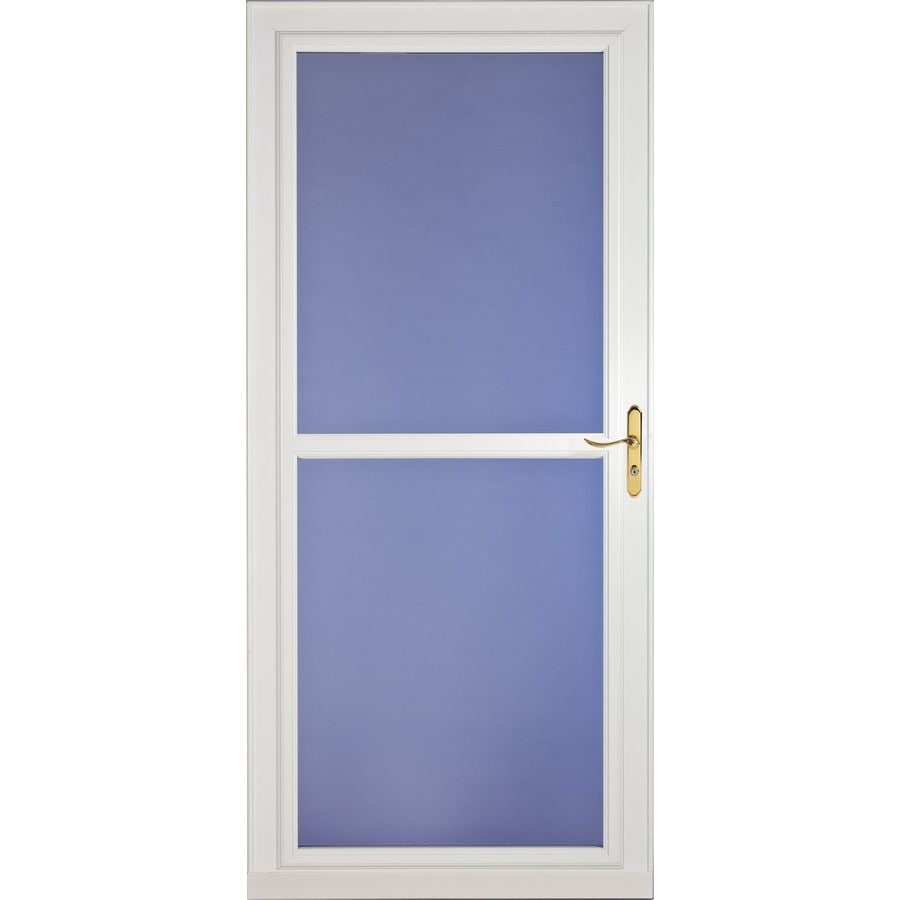 Shop larson tradewinds white full view tempered glass for Disappearing screen doors lowes