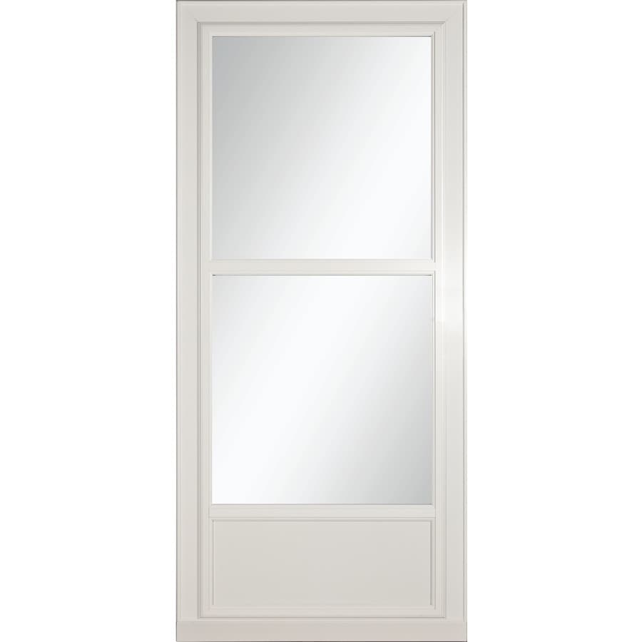 Shop larson tradewinds selection white mid view aluminum for Disappearing screen doors lowes