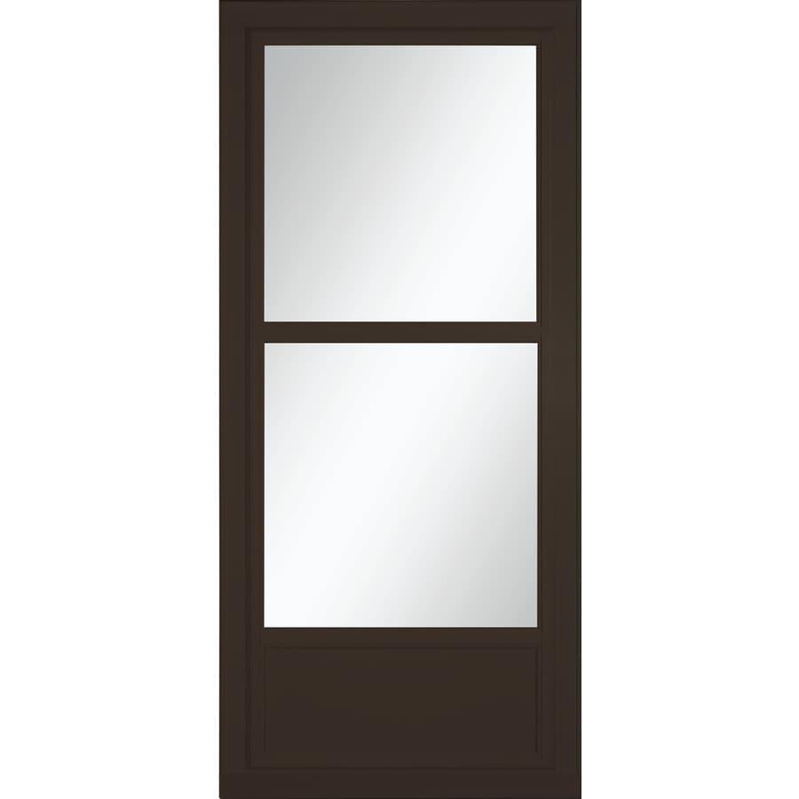 LARSON Tradewinds Selection Brown Mid-View Aluminum Storm Door with Retractable Screen (Common: 32-in x 81-in; Actual: 31.75-in x 79.75-in)