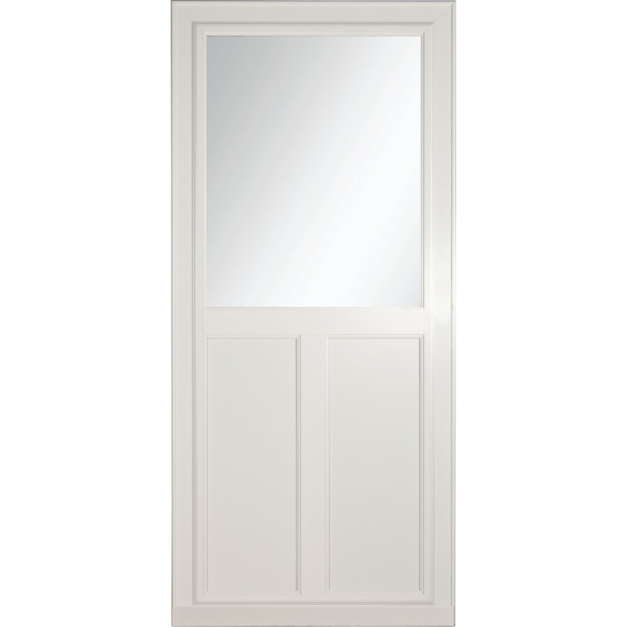LARSON Tradewinds Selection White High-View Aluminum Storm Door with Retractable Screen (Common: