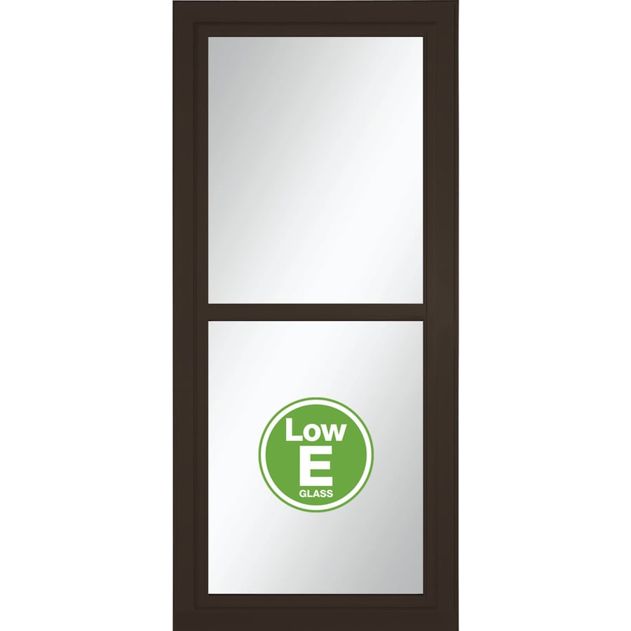 LARSON Tradewinds Low-E Brown Full-View Aluminum Storm Door with Retractable Screen (Common: 32-in x 81-in; Actual: 31.75-in x 79.75-in)