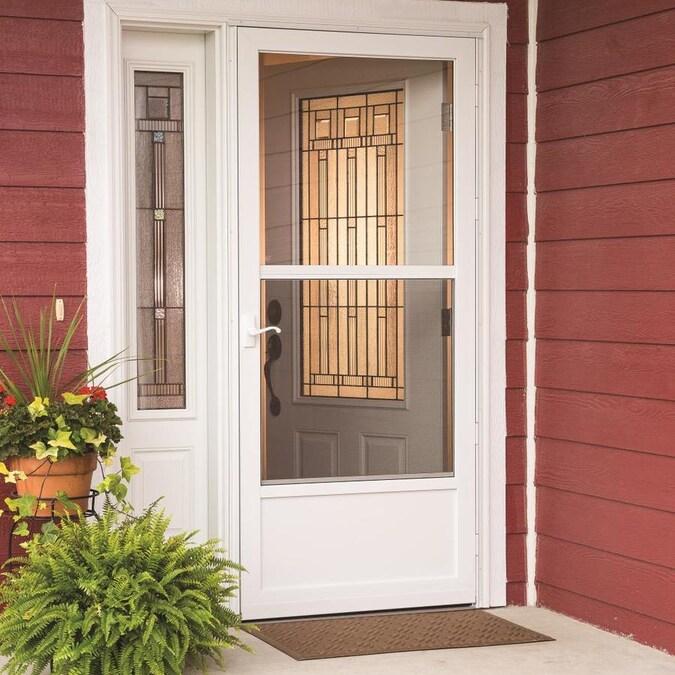 Comfort Bilt 30 In X 80 In White Mid View Storm Door In The Storm Doors Department At Lowes Com