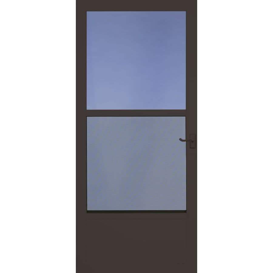 Perfect Comfort Bilt Southport Brown Mid View Aluminum Self Storing Storm Door  (Common