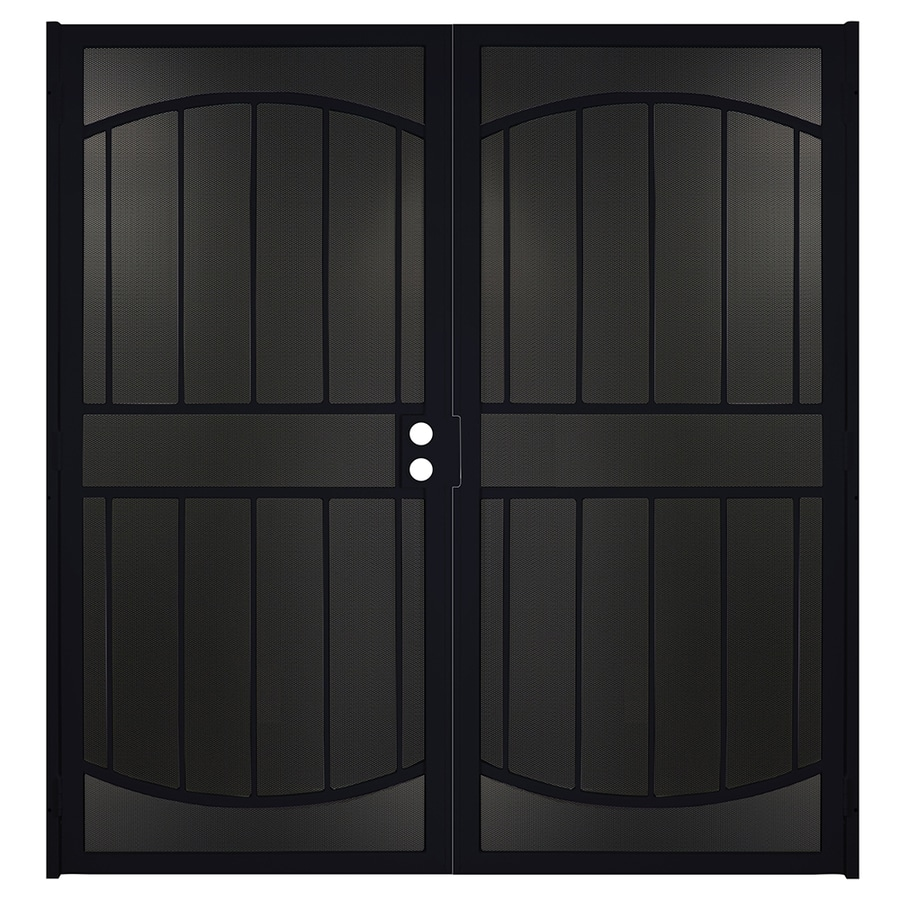 Shop security doors at lowes gatehouse gibraltar max black steel surface mount double security door common 64 in vtopaller Choice Image