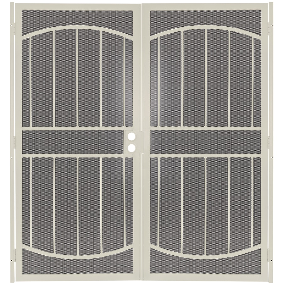 Gatehouse Gibraltar Max Almond Steel Surface Mount Double Security Door (Common: 64-in x 81-in; Actual: 66.75-in x 81.75-in)