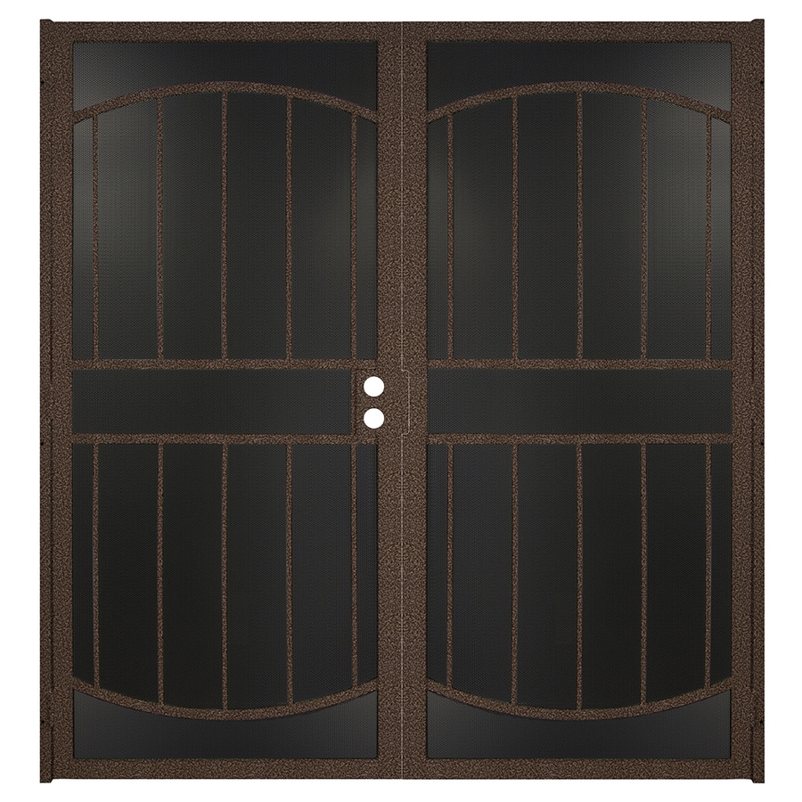 Gatehouse Gibraltar Max Bronze Steel Surface Mount Double Security Door (Common: 64-in x 81-in; Actual: 66.75-in x 81.75-in)