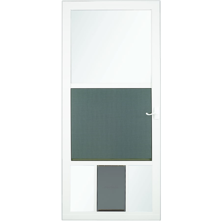 Shop storm doors at lowes larson petview white mid view aluminum storm door with pet door common 32 eventelaan Gallery