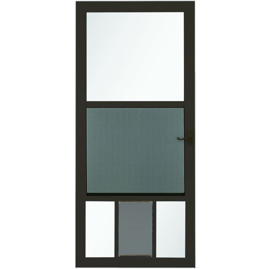 Shop LARSON PetView Brown Mid View Aluminum Storm Door With Pet Door Common