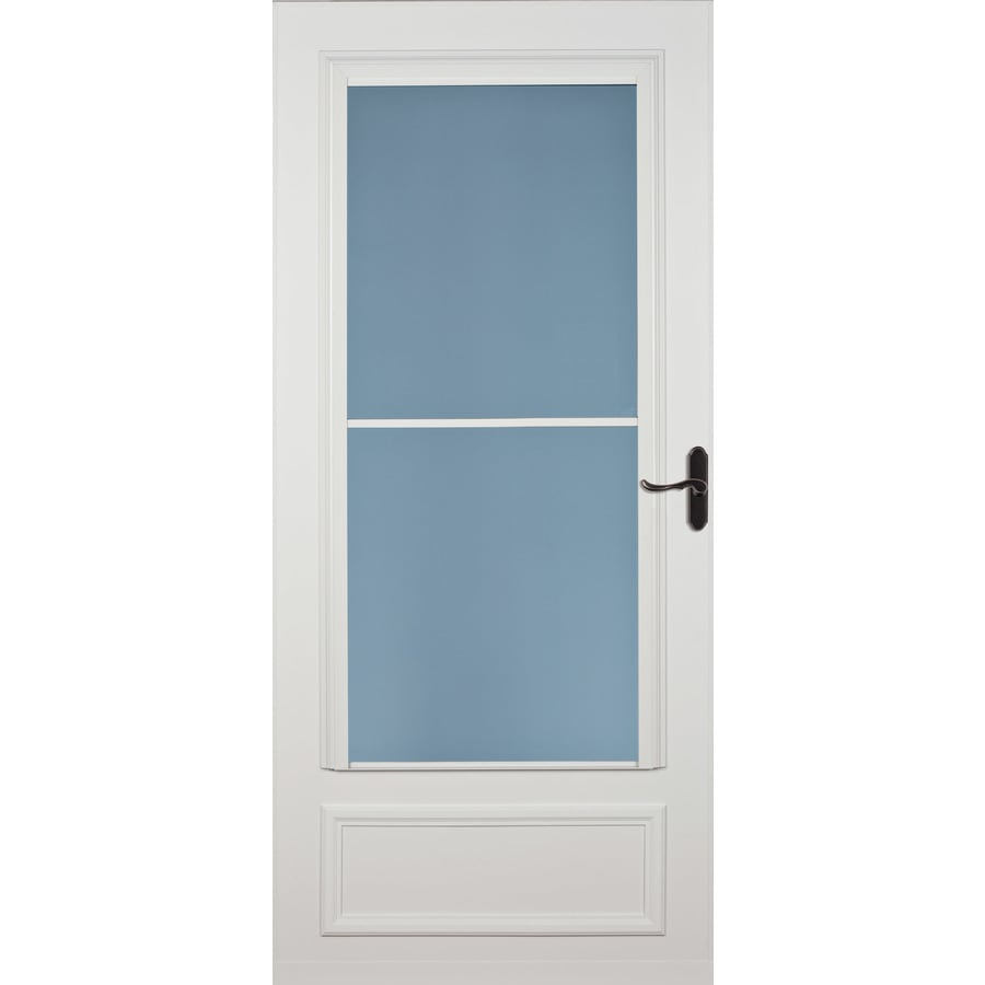 Shop larson savannah white mid view wood core retractable for Retractable double screen door