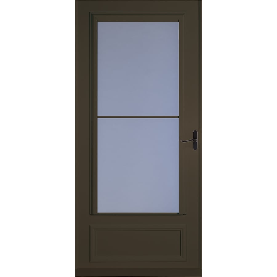 LARSON Savannah Brown Mid-View Tempered Glass Retractable Wood Core Storm Door (Common: 36-in x 81-in; Actual: 35.75-in x 79.875-in)