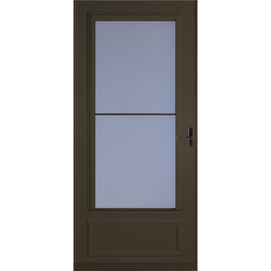 LARSON Savannah Brown Mid-View Wood Core Storm Door with Retractable Screen (Common: 36-in x 81-in; Actual: 35.75-in x 79.875-in)