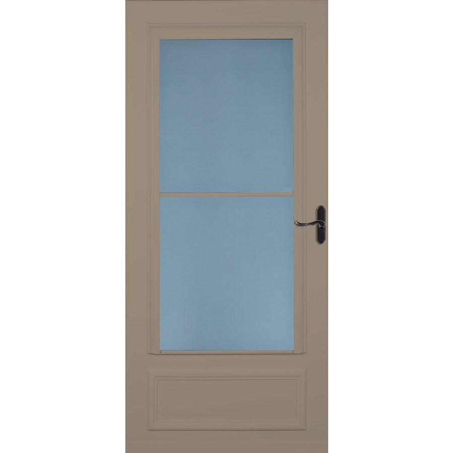 LARSON Savannah Sandstone Mid-View Wood Core Storm Door with Retractable Screen (Common: 34-in x 81-in; Actual: 33.75-in x 79.875-in)