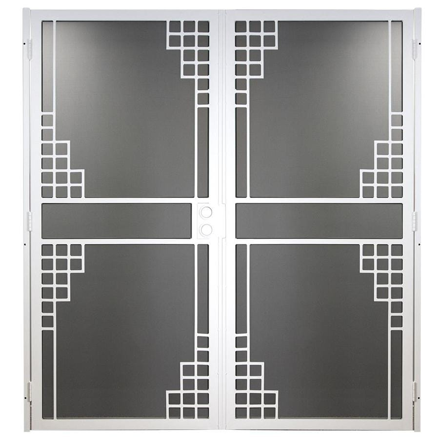 Gatehouse Monterey White Steel Surface Mount Double Security Door (Common: 72-in x 81-in; Actual: 74.75-in x 81.75-in)