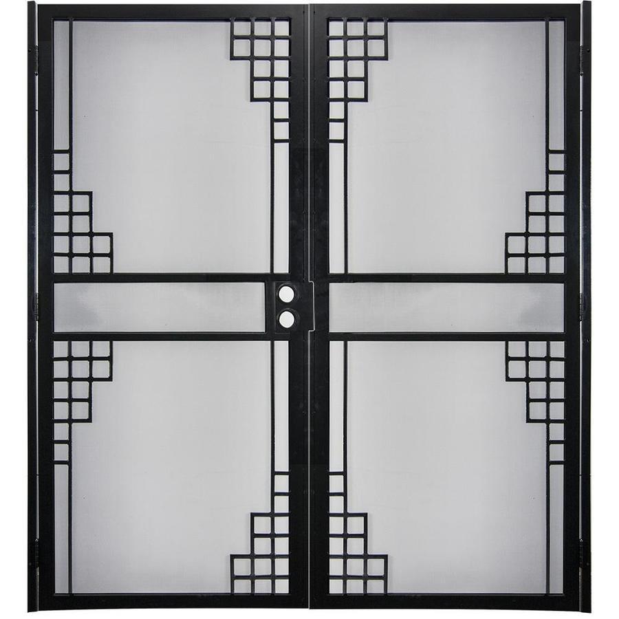 Gatehouse Monterey Black Steel Surface Mount Double Security Door (Common: 64-in x 81-in; Actual: 66.75-in x 81.75-in)