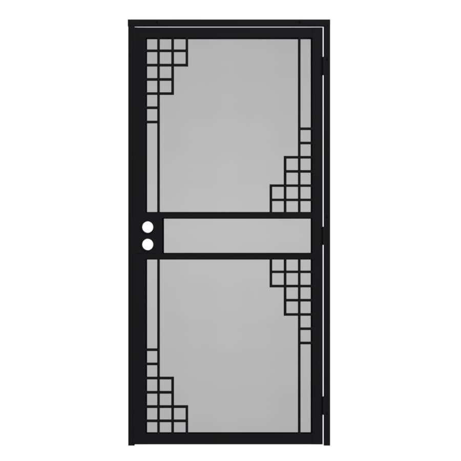 Gatehouse Monterey Black Steel Surface Mount Single Security Door (Common: 36-in x 81-in; Actual: 39-in x 81.75-in)