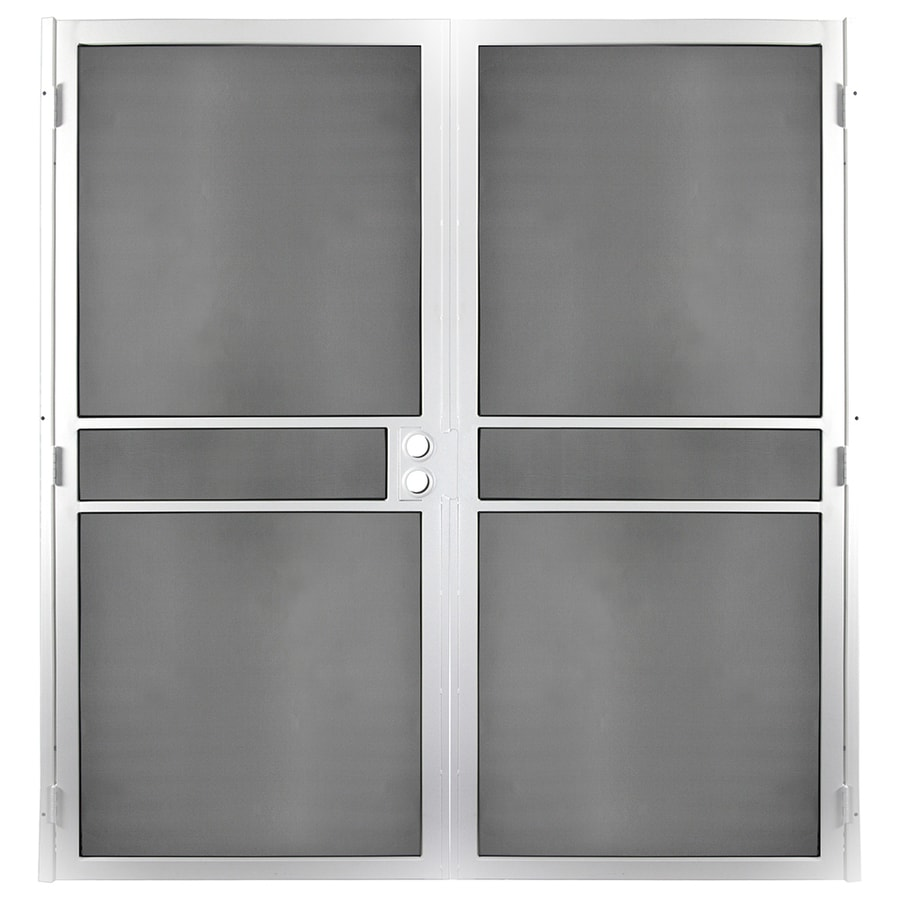 Gatehouse Pasadena White Steel Surface Mount Double Security Door (Common: 64-in x 81-in; Actual: 66.75-in x 81.75-in)