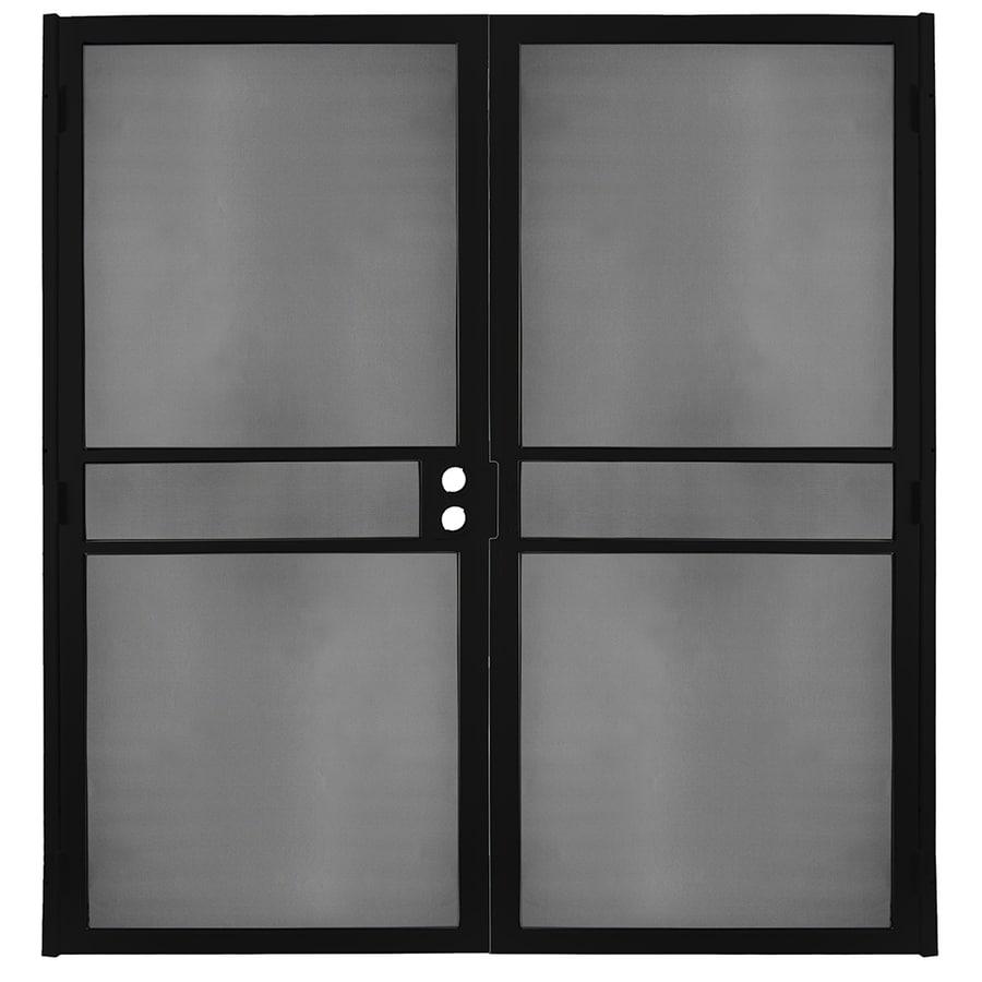 Gatehouse Pasadena Black Steel Surface Mount Double Security Door (Common: 64-in x 81-in; Actual: 66.75-in x 81.75-in)