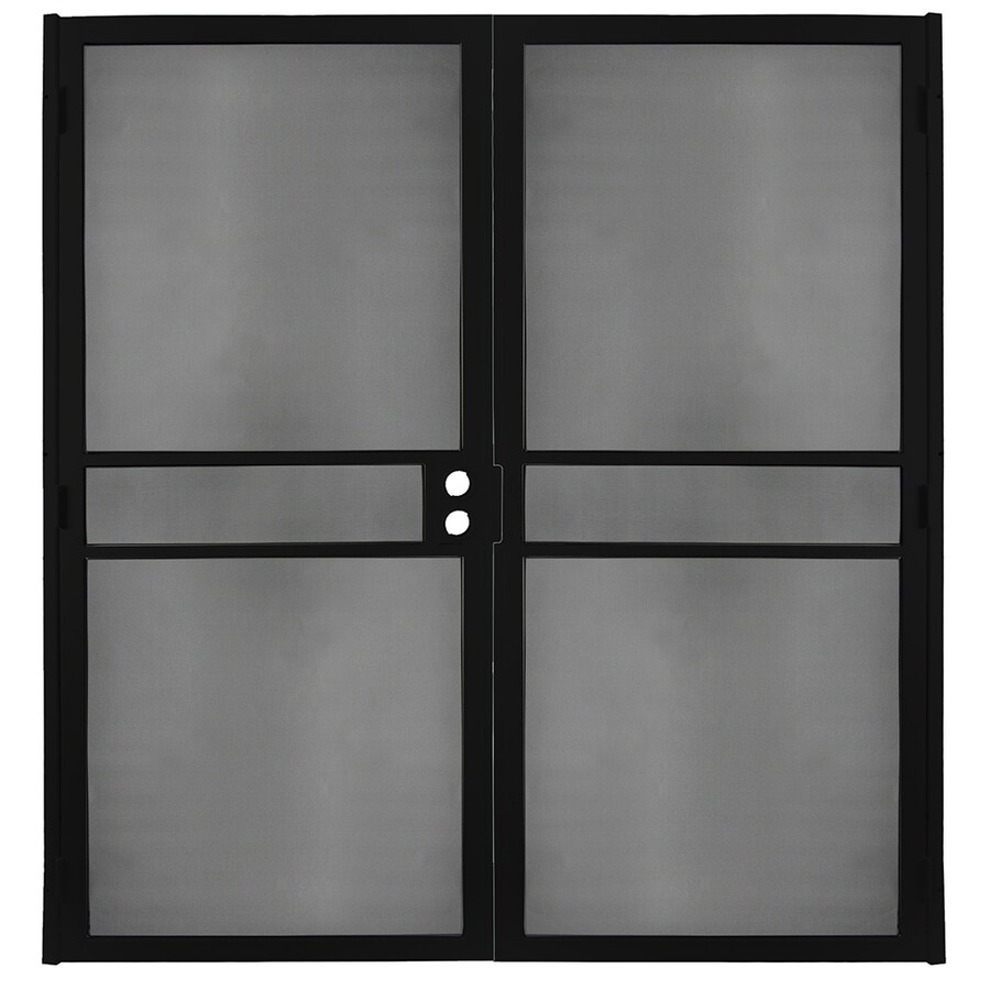 Gatehouse Pasadena Black Steel Surface Mount Double Security Door (Common: 72-in x 81-in; Actual: 74.75-in x 81.75-in)