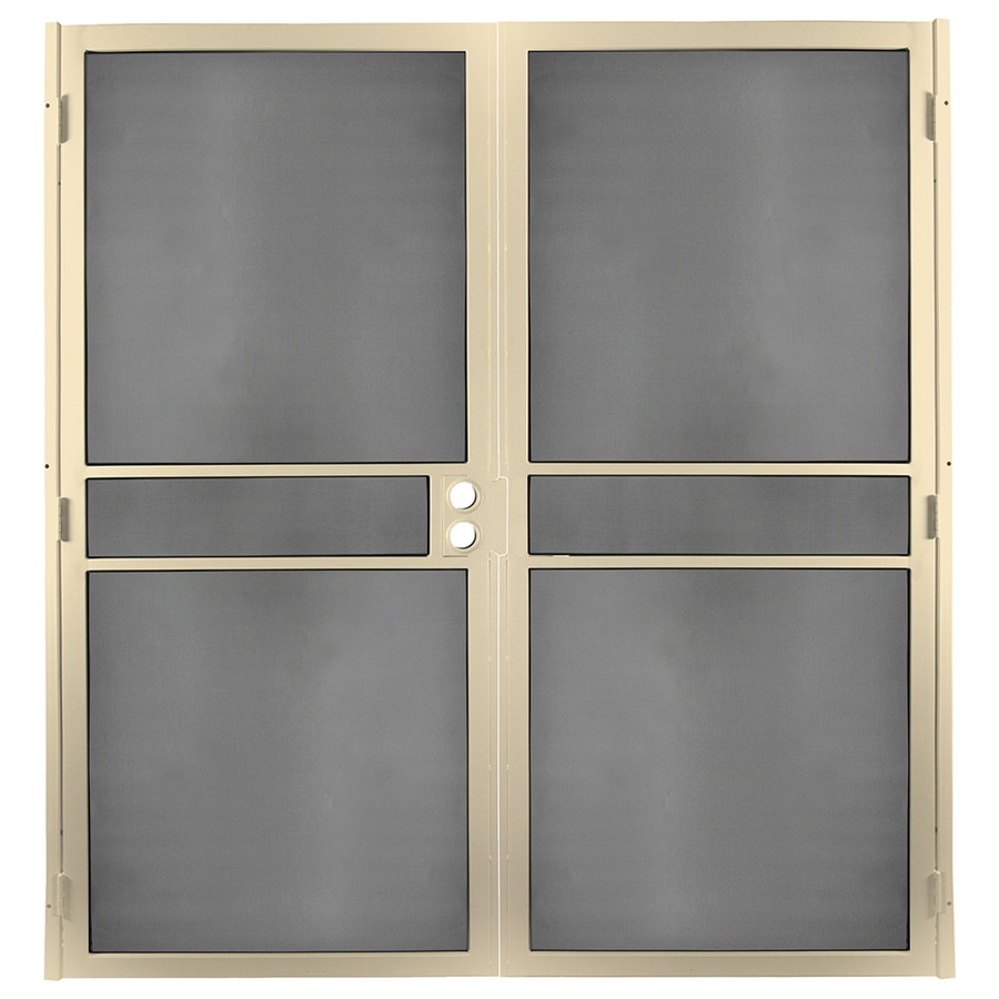 Gatehouse Pasadena Almond Steel Surface Mount Double Security Door (Common: 64-in x 81-in; Actual: 66.75-in x 81.75-in)