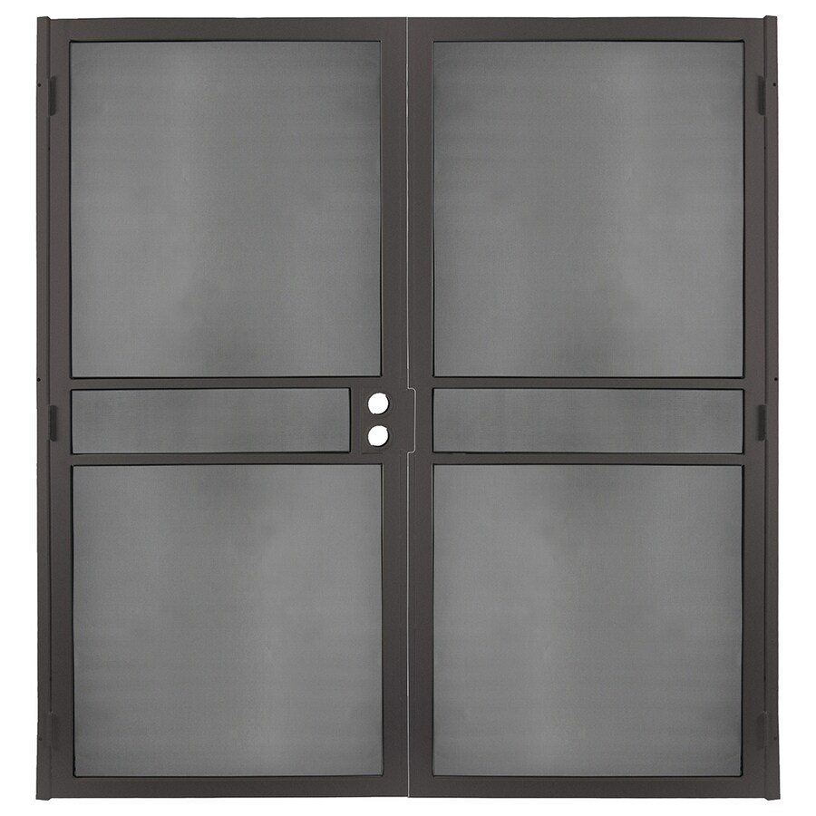 Gatehouse Pasadena Bronze Steel Surface Mount Double Security Door (Common: 64-in x 81-in; Actual: 66.75-in x 81.75-in)