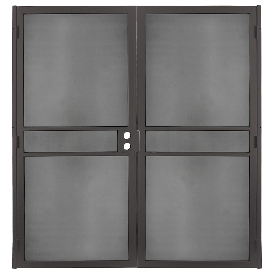 Gatehouse Pasadena Bronze Steel Surface Mount Double Security Door (Common: 72-in x 81-in; Actual: 74.75-in x 81.75-in)