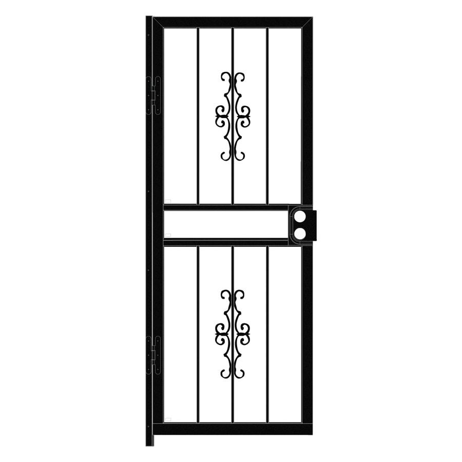 LARSON Courtyard Black Steel Recessed Mount Single Security Door (Common: 30-in x 78-in; Actual: 29.75-in x 77.75-in)