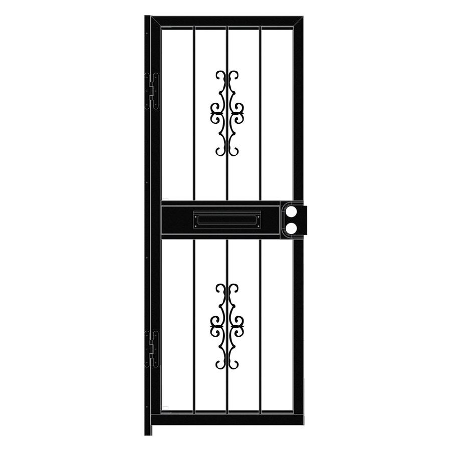 LARSON Courtyard Black Steel Recessed Mount Single Security Door (Common: 30-in x 81-in; Actual: 29.75-in x 79.75-in)